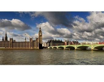 Panoramic Photograph   Palace of Westminster   London   River Thames   Elizabeth Tower   Big Ben   Westminster Bridge   Fine Art Photograph