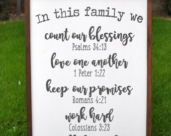 Gift-for-her, Gift for mom, In this House Family Rules Wood Custom Christian House Rules Subway Art