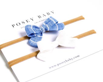 Linen Baby Headbands & Bows | Mini Newborn Bow Set | Ocean Stripe and White