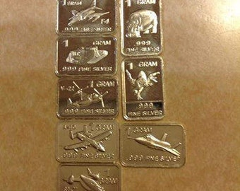 Eight 1 Gram .999 Fine Silver Bars