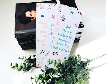 Jane Austen Bookmark Set of 4 - Watercolour Floral Design