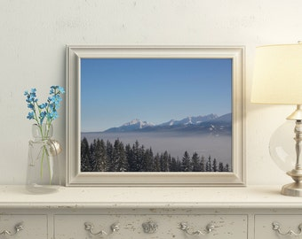 Mountain photography 8x10 picture Bedroom decor Blue wall picture Printable poster White Blue mountains Livingroom wall art Horizontal photo