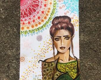 "ILLUSTRATION Stylefile marker / / ""Oriental Beauty"" on paper / / ORIGINAL"