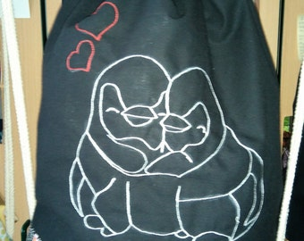 "Gym bags cute penguins ""Mr. and Mrs. chat"""