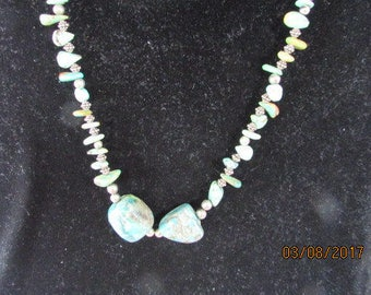 "Necklace turquoise and aged silver beads   13"" length  handstrung"