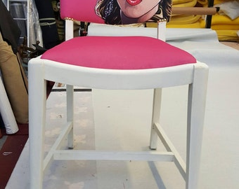 Pink chair / madonna chair / velvet chair / occasional chair / dressing room chair / girly furniture / pink and white chair