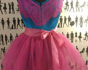 Electric Blue and Pink Lace Duchess Satin Corset - 100% silk