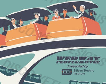 Vintage Disney World WDW WEDWay People Mover Poster
