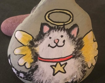 Kitty Cat Angel Painted Rock & Paperweight