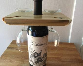 Wine Caddy, Wooden Wine Caddy, Handcrafted Wine Caddy, Wine Bottle Holder, Wine Glass Holder