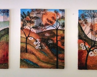 Colorful Original Triptych Paintings - Modernist Landscape