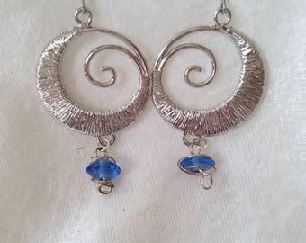 Swirling into the Blue Stone Earrings, Wire-wrap spiral Earrings, Blue Glass Earrings, Silver Spiral Earrings