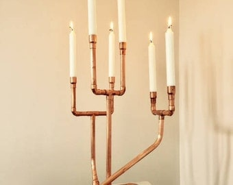 Six tier copper candelabra