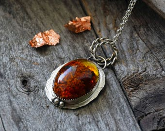 Sterling silver lichen pendant with leaf imprint