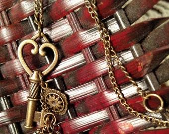 Antique Gold Heart Key Charm Necklace