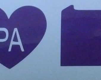 """I Heart *Choose your state* Decal 2""""x6""""  Includes State image"""