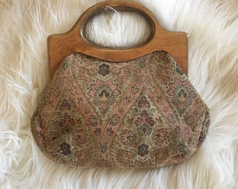 Vintage Wooden Handle Tapestry Purse