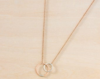 Sterling Silver and Rose Gold Filled Linked Circles on Rose Gold Chain, Pink Gold Mixed Metal Jewelry, Pink and Silver Linked Rings Pendant
