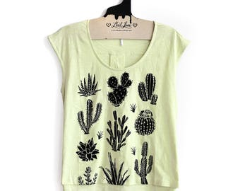 S, M or L -Seafoam Lime Green Cap Sleeve Top with Cactus Screen print
