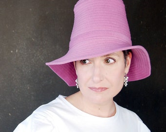 Orchid pink spring hat, ladies gift, asymmetrical brim cloche, wool wide brim hat, handmade millinery for women : Piazza