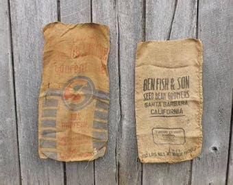 2 Vintage burlap gunny sack bags, Swifts Swine Concentrate Chicago, Ben Fish & Son Seed Bean Growers Santa Barbara, Advertising Collectible