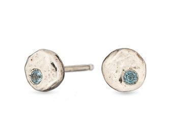 Pebble sterling silver studs // sapphire //aquamarine // citrine //amethyst // garnet