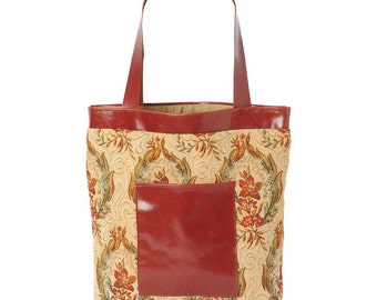 SALE Beige red tote bag with leather details, Floral patterned tote bag, Crimson shopping bag, Fabric and leather bag, Gift for her, MALAM