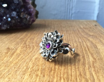 Rose Cut Amethyst and Sterling Silver- The Chrysanthemum Ring