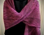 CLEARANCE SALE - Claret - Arashi Shibori Hand Dyed & Hand Pleated Silk Shawl/Scarf