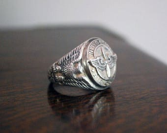 Sterling Pilot Ring, 1940s WWII Military Ring, U.S. Army Air Corps, Size 12, Sterling Silver Men's Ring, Wing and Prop Insignia, Signet Ring
