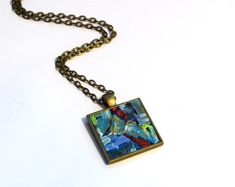 Hand Painted Art Necklace , FREE Shipping, Contemporary art, Modern, Pendant , Wearable Art, Red, Blue, Necklace, Handpainted Pendant