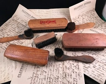 7 Vintage Antique  Brushes Wooden Handles Shoe Brush Round and Rectangle