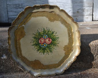Vintage Round Florentine Serving Tray Hand Painted in Italy Roses