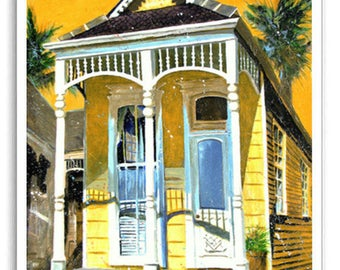 """New Orleans 13x19"""" Art Garden District House Signed Numbered Print """"Nola House"""""""