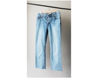 1990's Gap Boot Cut Raw Hem Distressed Blue Denim Jeans