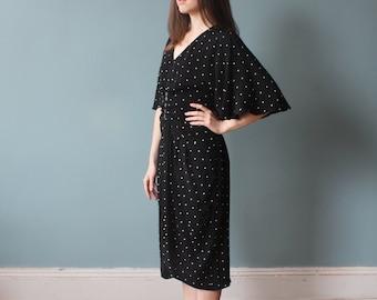 black polka dot caped dress | 80s cape party dress | large