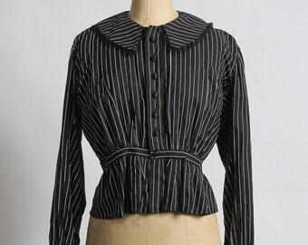 SALE Antique Pin Stripe Blouse . 1910s Shirt