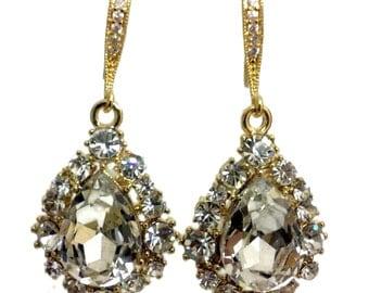 Gold Bridal Earrings, Teardrop Wedding Earrings, Swarovski Crystal Wedding Jewelry, Dangle Earrings, Pear Drop Bridal Jewelry Gift, BIJOUX