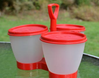 Vintage RED Tupperware with Caddy