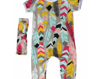 Girls Baby Romper with Matching Headband-Feather Print