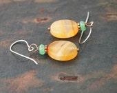 Chrysoprase and Carnelian Earrings