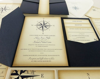 Reserved for Jane Mruk, Reorder 1 Invitation and Envelope, Vintage Compass Invitations and Accessories, Navy Blue, Nautical