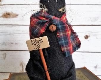 Black Attack Cat Primitive Folk Art Kitty Shelf Sitter Doll