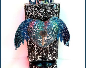 SALE, Angel, Angel Assemblage, Crown, Diesel Punk, Mixed Media Statue, Birthday Gift, Goth Gift, Metal Embossed, Wings, Heart, Steampunk
