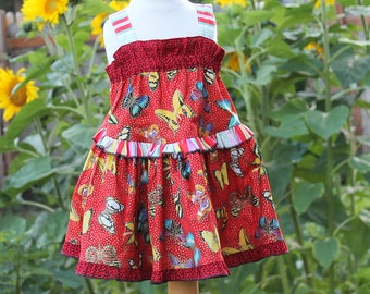 Sparkling Butterfly Sundress Girl Red Dress Colorful Little Girl Dress Cotton Kids Clothes Summer Girl Clothes Size 2T 3T 4 5 6 7 8 10 12 14