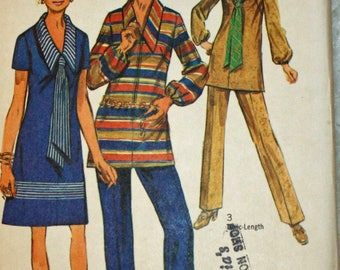 """Vintage 1970s Sewing Pattern, Simplicity 9035, Misses' Dress or Tunic, Scarf and Pants, In Half Sizes, Size 12 1/2, Bust 35"""", UNCUT, FF"""