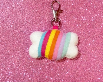 Rainbow Cloud Keychain - Happy Cloud Charm - Cloud Key Chain - Kawaii Key Chain - Rainbow Cloud - Rainbow Charms - Mothers Day Gift