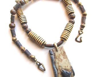 Cat and Snake Totem Necklace Rustic Animal Pendant Necklace Primitive Talisman Necklace