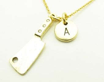 Cleaver Necklace, Chef Necklace, Knife Charm Necklace, Antique Gold Cleaver, Personalized, Initial Necklace, Monogram, Cooking Necklace Z411