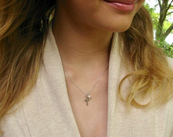 Sterling Silver Cross Necklace // Cross Necklace // First Communion Gift for Girl